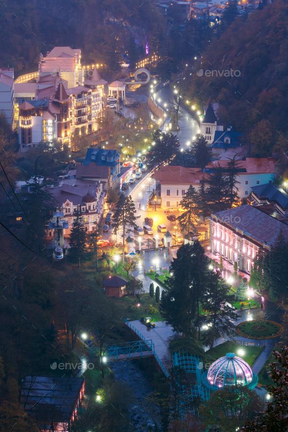 Borjomi, Samtskhe-Javakheti, Georgia. Aerial View Borjomi Citysc - Stock Photo - Images