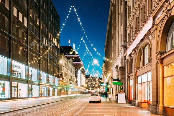 Helsinki, Finland. Night View Of Aleksanterinkatu Street With Ra - Stock Photo - Images