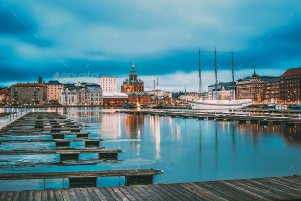 Helsinki, Finland. View Of Evening City And Uspenski Cathedral F - Stock Photo - Images