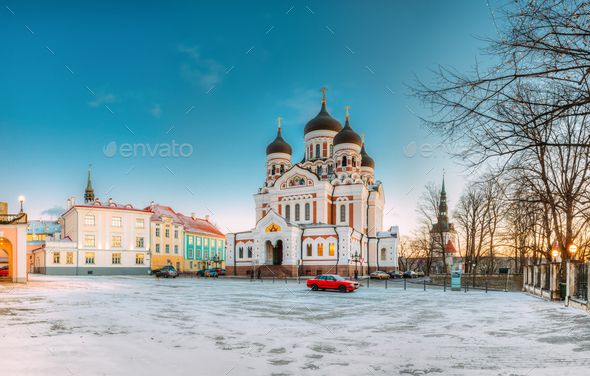 Tallinn, Estonia. Morning View Of Alexander Nevsky Cathedral. Fa - Stock Photo - Images