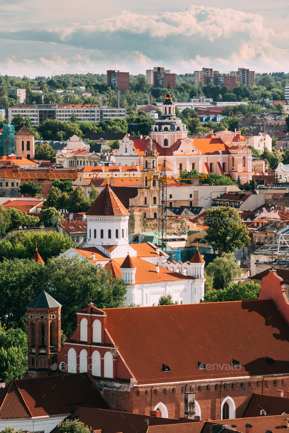 Vilnius, Lithuania. View Of Church Of St. Casimir, Church Of Ble - Stock Photo - Images