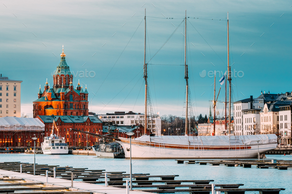Helsinki, Finland. Evening View Of Uspenski Cathedral From Pier - Stock Photo - Images