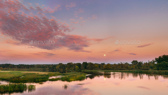 River Landscape In Belarus Or European Part Of Russia In Sunset - Stock Photo - Images