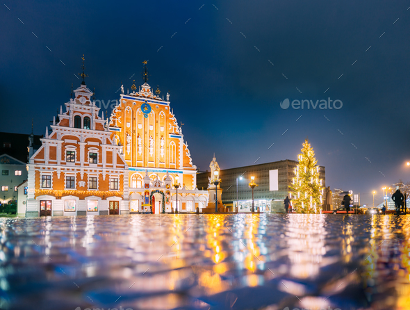 Riga, Latvia. Town Hall Square, Popular Place With Famous Landma - Stock Photo - Images