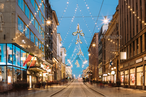 Helsinki, Finland. Night View Of Aleksanterinkatu Street With Ra - Stock Photo - Images