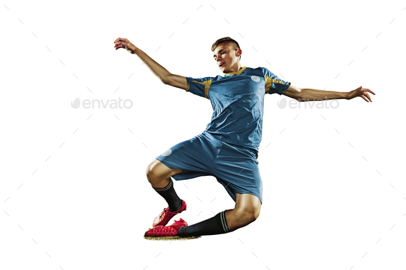one caucasian soccer player man isolated on white background - Stock Photo - Images
