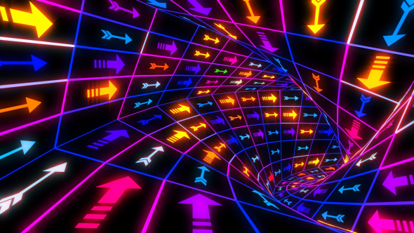 VideoHive Arrows Colorful Neon Tunnel 21241653