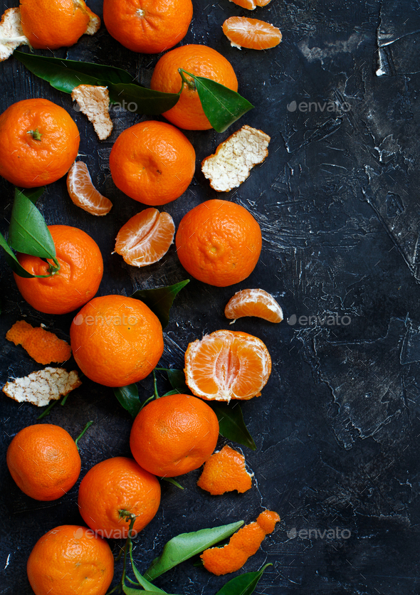 Mandarins with leaves - Stock Photo - Images