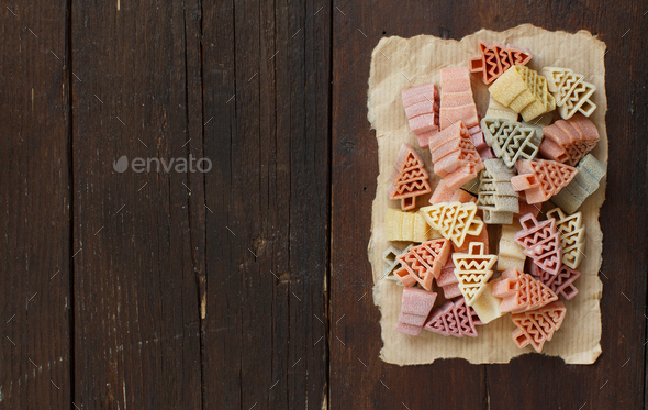 Tricolor fir tree shaped pasta - Stock Photo - Images