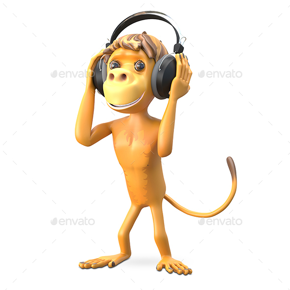 3D Illustration Monkey in the Headphones - Characters 3D Renders