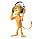 3D Illustration Monkey in the Headphones - GraphicRiver Item for Sale