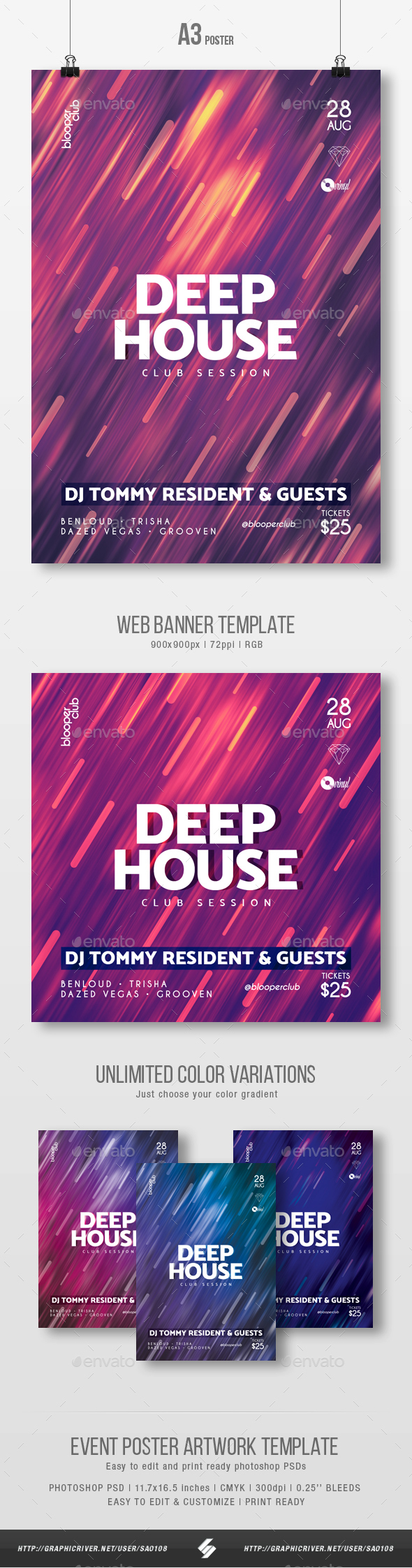 Deep House Session 3 - Party Flyer / Poster Template A3 - Clubs & Parties Events
