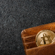 Bitcoin coin in wallet on black background - PhotoDune Item for Sale