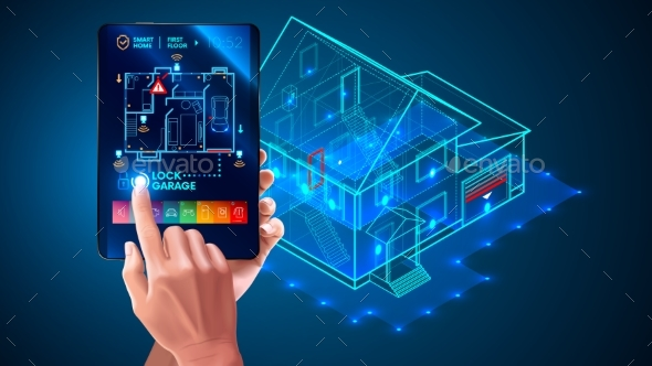 IOT. Smart Home System Application Interface. 3d - Technology Conceptual