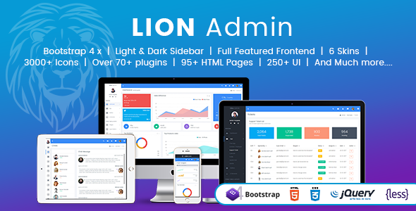ThemeForest Lion Responsive Bootstrap 4 Admin Dashboard Template UI and WebApp Template 21134788