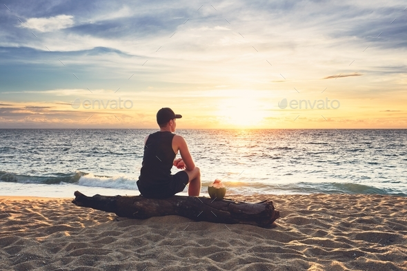 Contemplation on the beach - Stock Photo - Images
