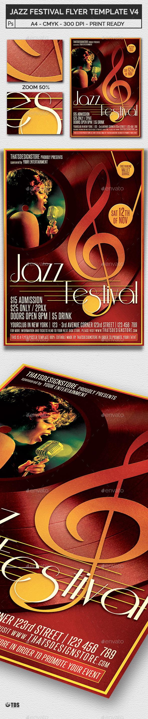 Jazz Festival Flyer Template V4 - Concerts Events
