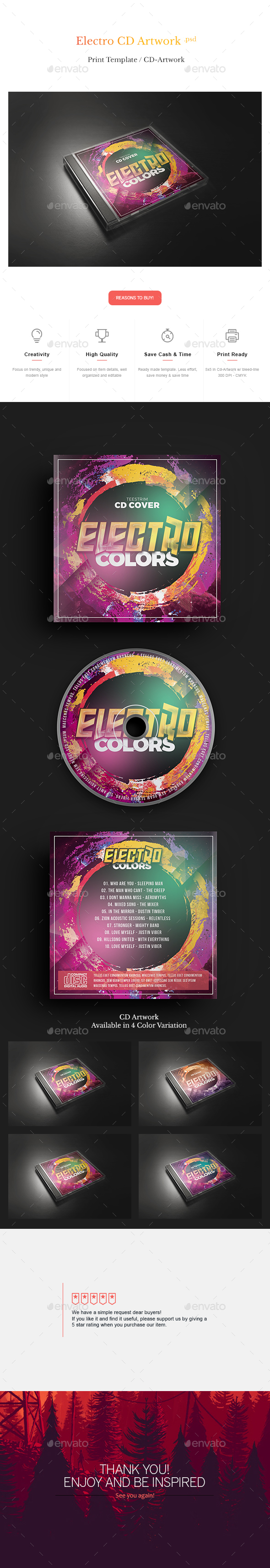 Electro Colors - CD Template - CD & DVD Artwork Print Templates