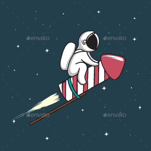 Baby Astronaut Flying on Firework Rocket - Technology Conceptual