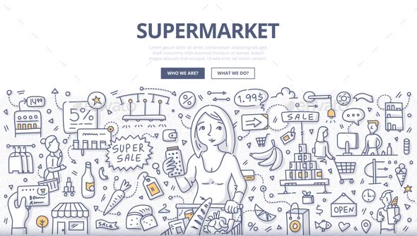 Supermarket Doodle Concept - Concepts Business