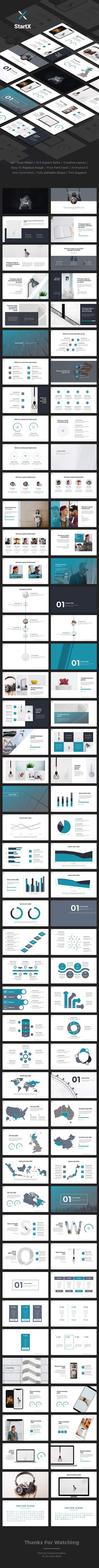 StartX - StartUp Pitch Deck Google Slide Template - Google Slides Presentation Templates