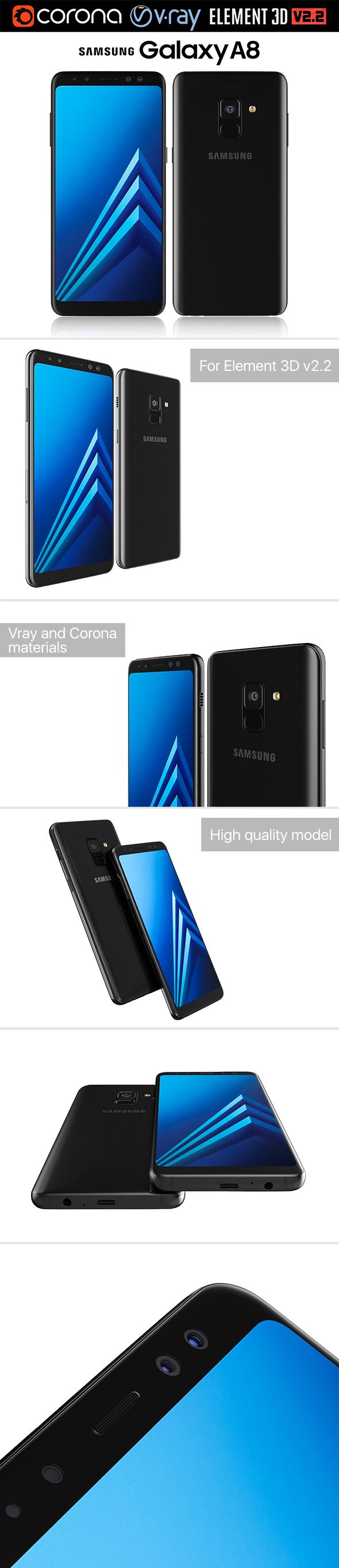 Samsung Galaxy A8 Black - 3DOcean Item for Sale