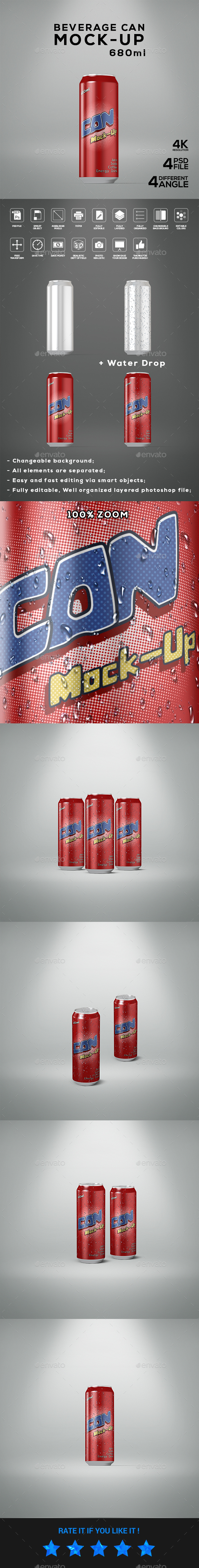 Beverage Can 680ml Mock-Up - Food and Drink Packaging