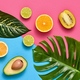 Tropical Palm Leaves and Fresh Fruits. Summer Set - PhotoDune Item for Sale