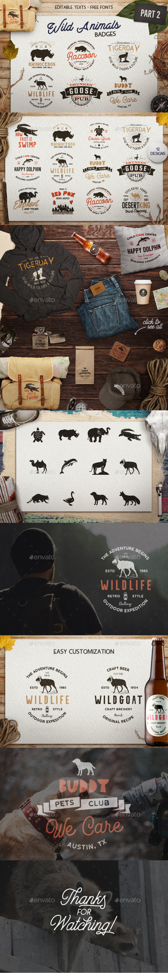12 Wild Animals Badges [Part 2] - Badges & Stickers Web Elements