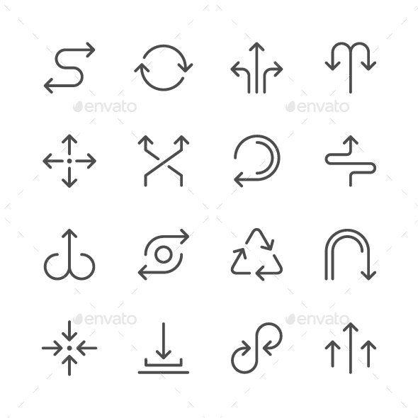 Set Line Icons of Arrows - Man-made objects Objects