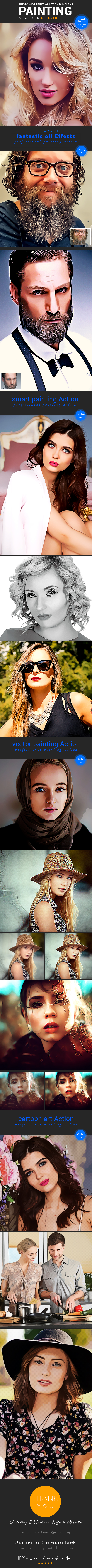 Painting & Cartoon Action Bundle - Photo Effects Actions