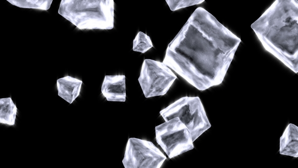VideoHive Ice Cubes Falling on Black 21243330