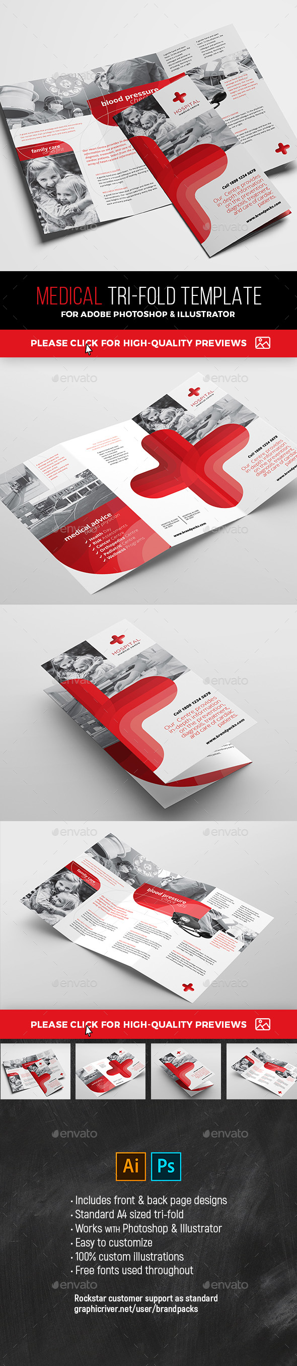 Medical Tri-Fold Brochure Template - Corporate Flyers