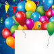 Balloons and Confetti With Ticket and Flags - GraphicRiver Item for Sale
