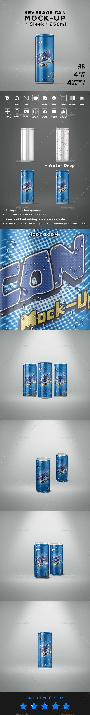 Beverage Can Sleek 250ml Mock-Up - Food and Drink Packaging