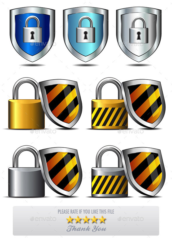 Padlock and Shield - Keeping You Safe Icons - Miscellaneous Conceptual