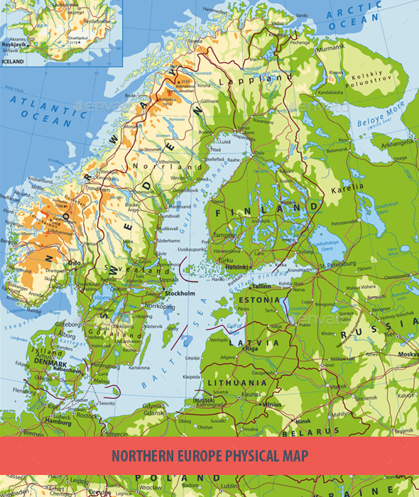 Northern Europe Physical Map - Travel Conceptual