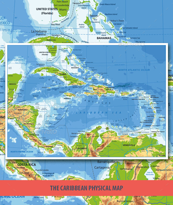 The Caribbean Physical Map - Travel Conceptual