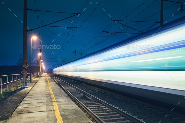 Light trail of the train - Stock Photo - Images