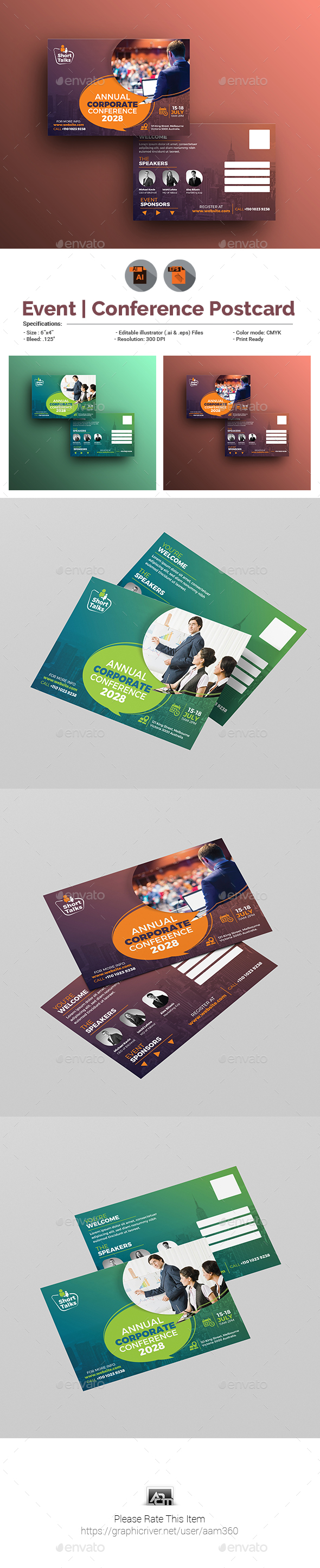 Annual Corporate Event | Conference Postcard - Cards & Invites Print Templates