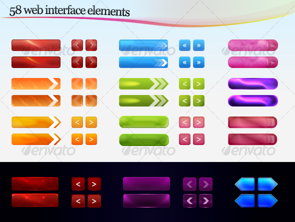 Web interface elements - Buttons Web Elements