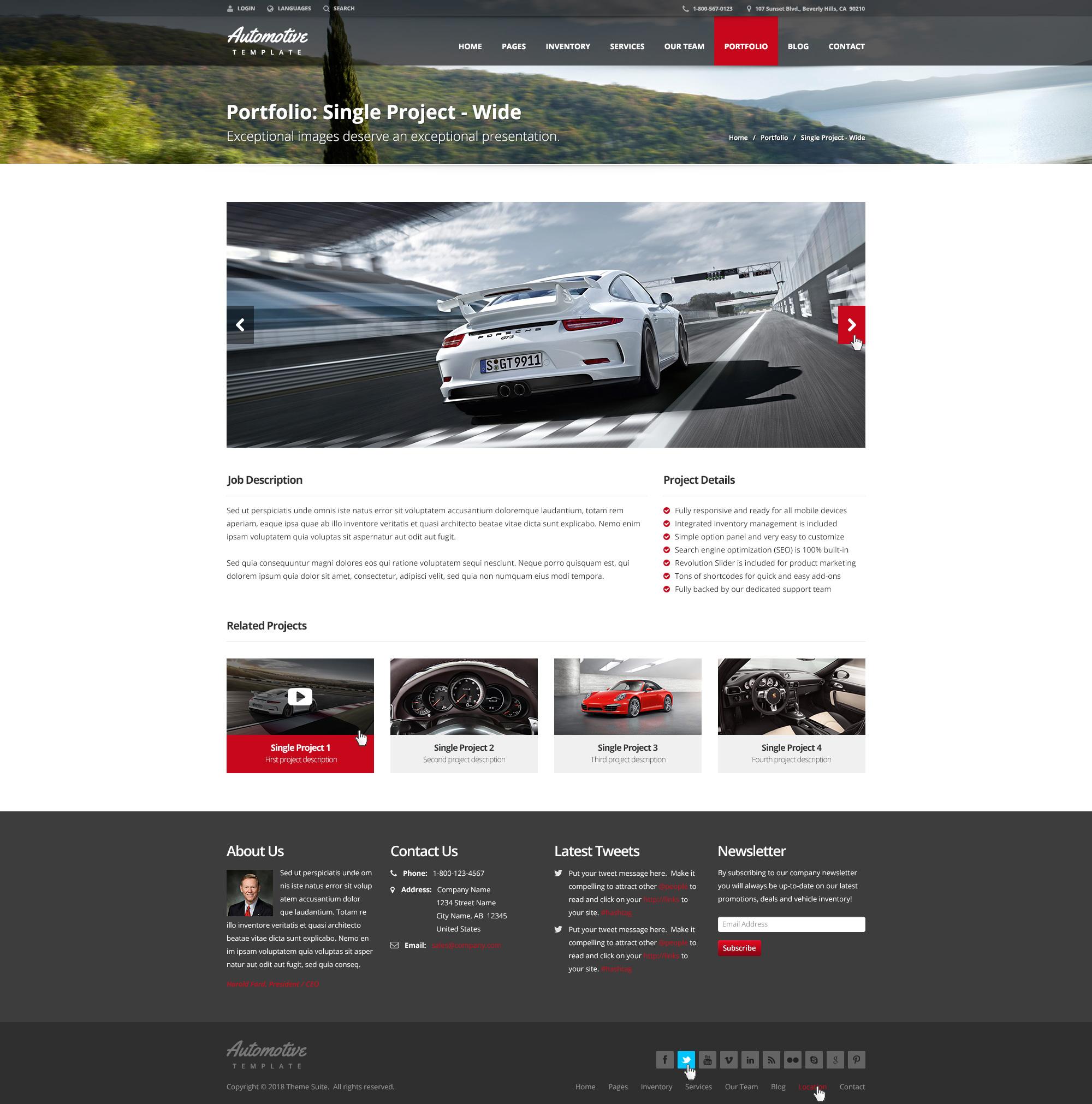 Automotive car dealership business wordpress theme by for Motor car portfolio site inventory