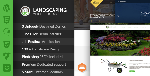 Landscaping - Lawn & Garden, Landscape Construction, & Snow Removal WordPress Theme - Business Corporate