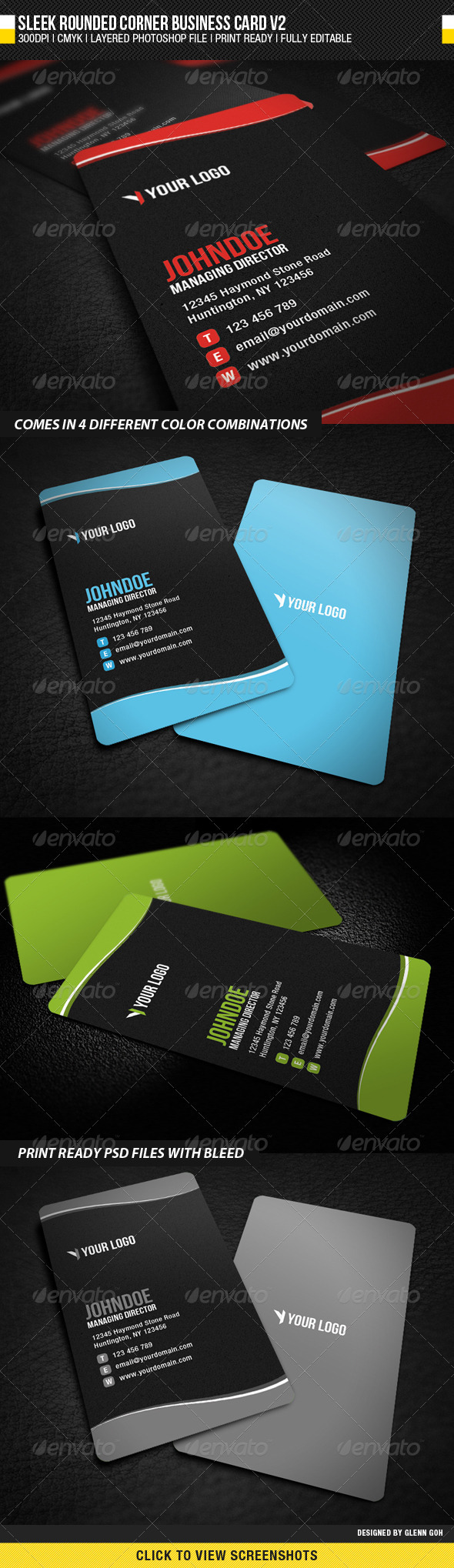 Sleek Rounded Corner Business Card V2 - Corporate Business Cards