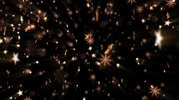 VideoHive Golden Stars and Snowflakes 21244685