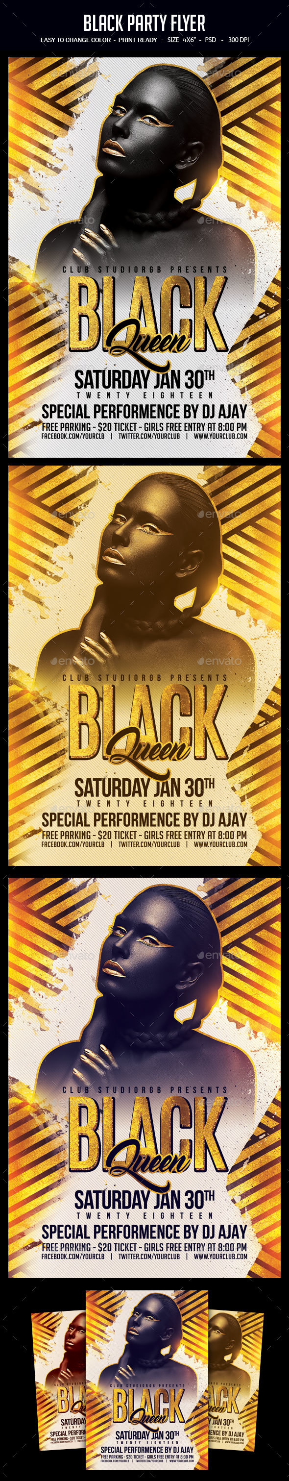 Black Party Flyer - Clubs & Parties Events