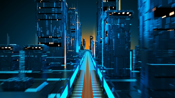 VideoHive Technology City of the Future Virtual Metropolis Aerial Flight in Cyber Space 21245001