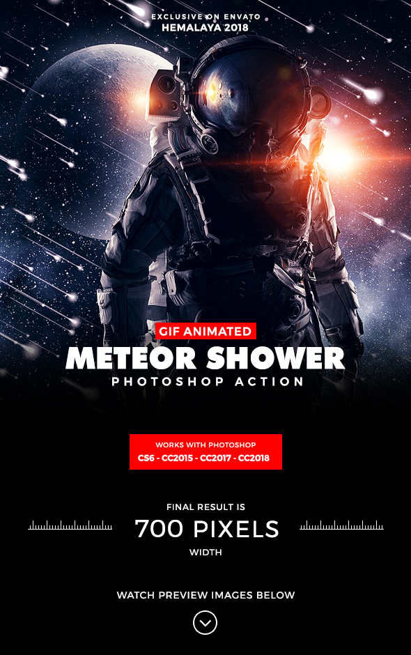 Animated Meteor Shower Photoshop Action - Photo Effects Actions