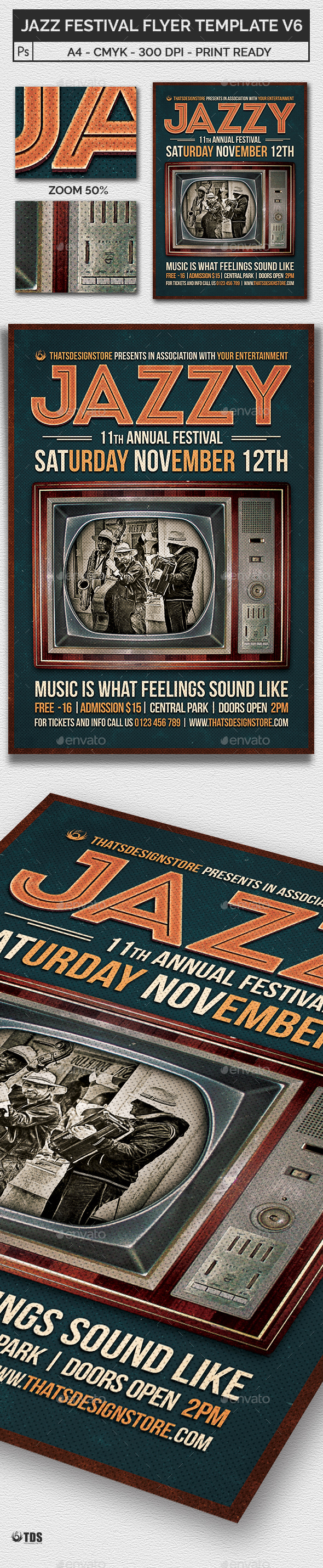 Jazz Festival Flyer Template V6 - Concerts Events