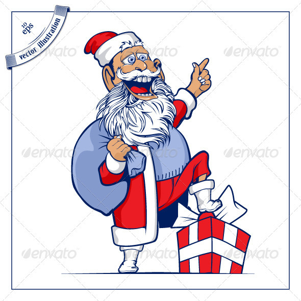 Santa Smile With Bag Of Gifts - People Characters